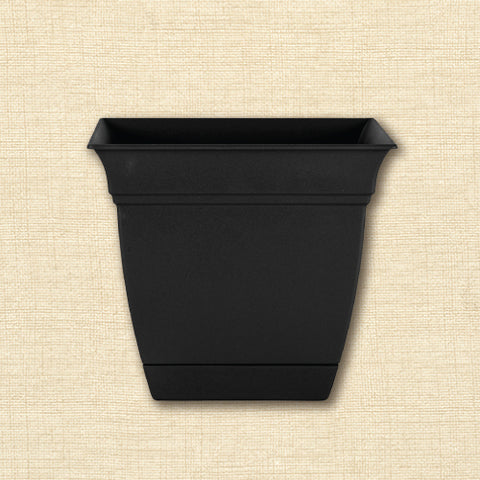 Planter - Eclipse Square with Attached Saucer - Black