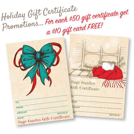 Holiday gift certificate promo at Sage Garden