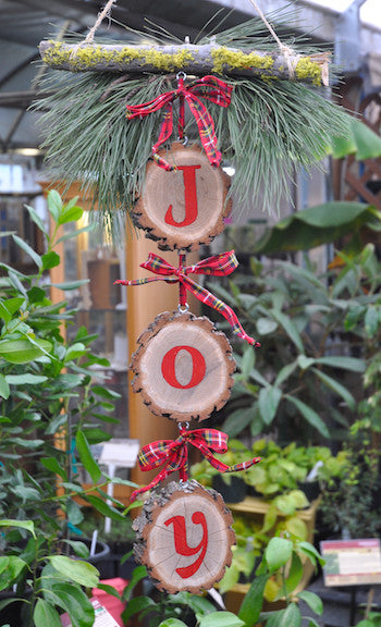 "Sage Garden holiday ornament with holiday ""joy"""