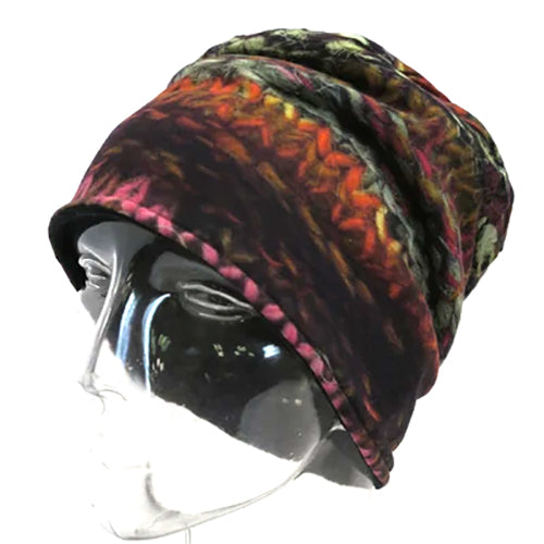 Women's Winter Hat -  Cotton Knit with Polar Fleece Lining - Digital Knit