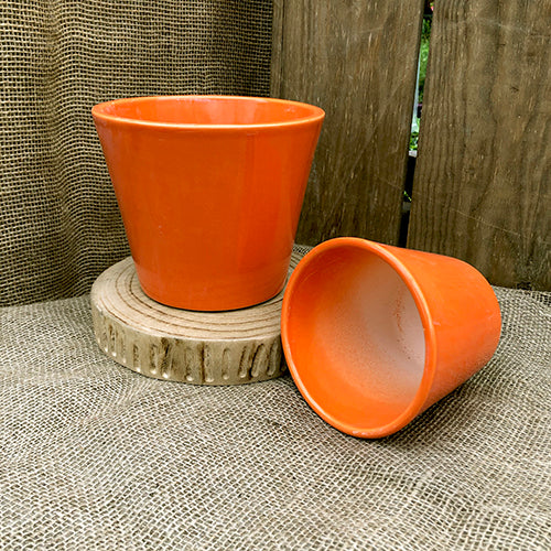 Ceramic Pot Cover - Nova Orange