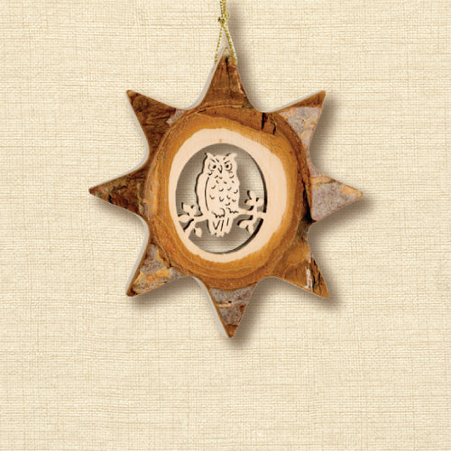 Black Forest Wood Ornament - Star with Animal Motif