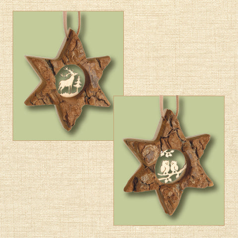 Black Forest Wood Ornament - Star with Detailed Motif