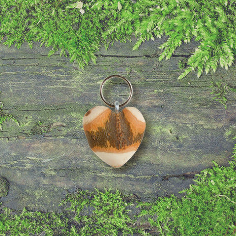 Black Forest Wood Key Ring - Knotted Heart