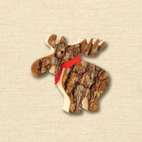 Black Forest Wood Ornament - Bark Moose with Scarf