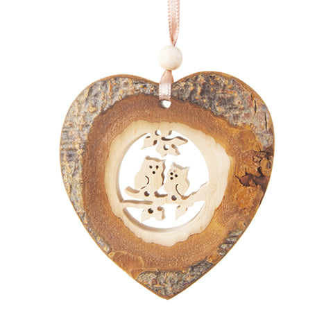 Black Forest Wood Ornament - Heart with Owls