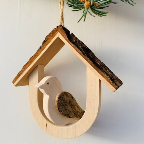 Black Forest Wood Decor Piece - Bird in the House (Hanging)