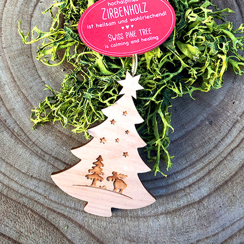 Black Forest Wood Ornament - Christmas Tree Moose, Hanging