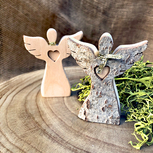 Black Forest Wood Angel - Bark with Heart