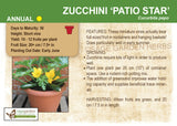 Zucchini 'Patio Star' (Live Plant)
