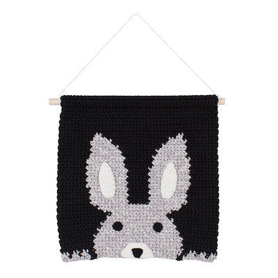 Black Peek a Boo Bunny Wall Hanging