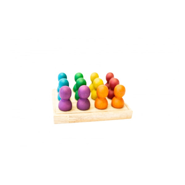 Mini Rainbow People on Wooden Tray