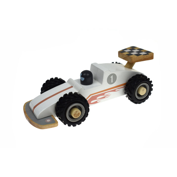 Wooden Race Car White