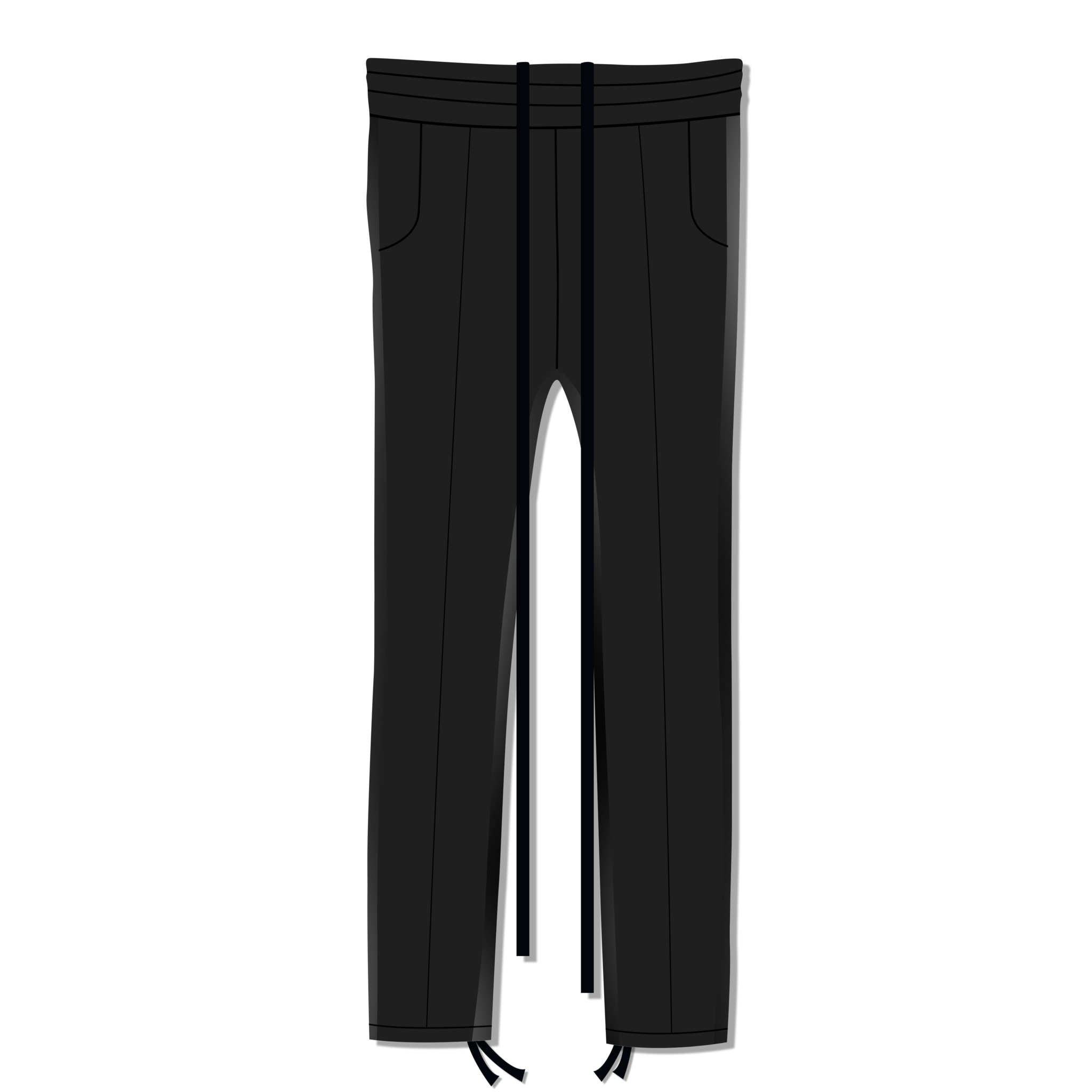 Leather Striped Sweatpant in Black