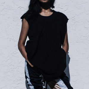 Oversized Sleeveless Tee in Black
