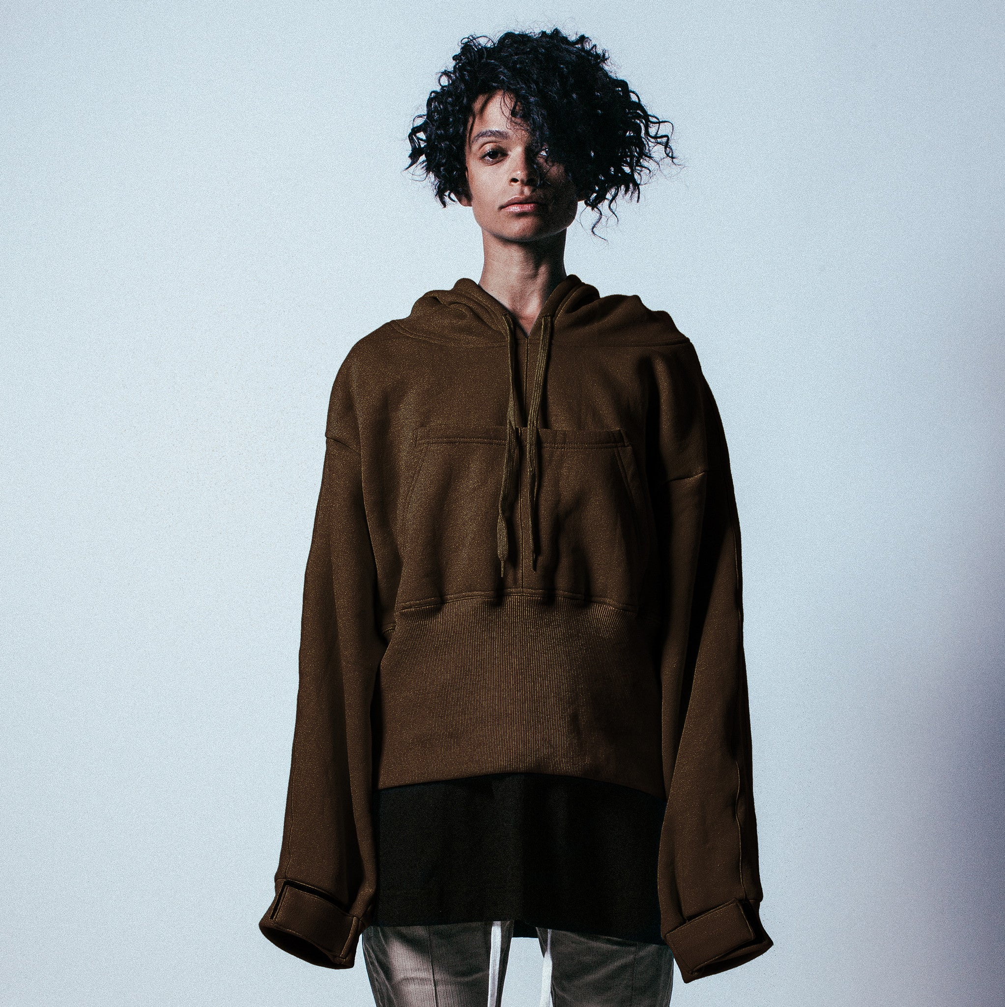Ribbed Oversized Pullover Hoodie in Brown