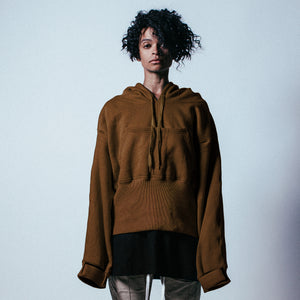 Ribbed Oversized Pullover Hoodie in Dark Camel