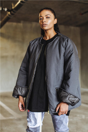 Shell Dual Zip Canvas Jacket in Smoke Grey