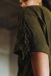 Fringed Tee in Olive or Black