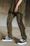 Fringed Sweatpants in Olive