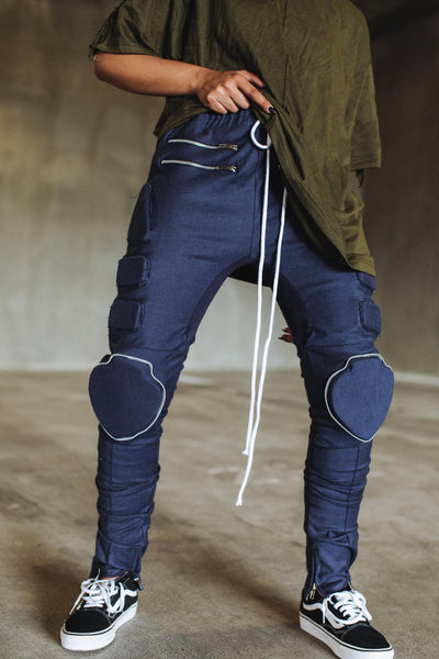 Padded Moto Denim in Raw Blue