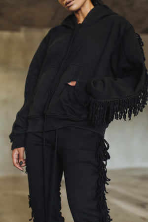Fringed Sweatpants in Black