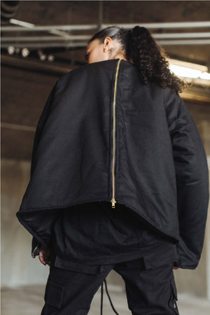 Shell Dual Zip Canvas Jacket in Black