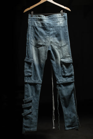 Denim Cargo Pants in Blue Wash