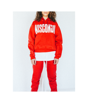 Leather Striped Sweatpant in Red