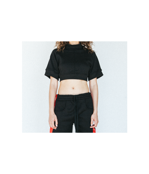 Ribbed Crop Top Crewneck in Black