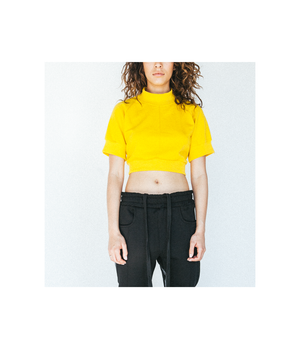 Ribbed Crop Top Crewneck in Dandelion