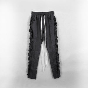 Fringed Trousers in Dark Grey