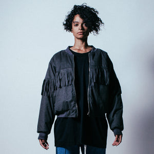 Fringed Bomber in Dark Grey