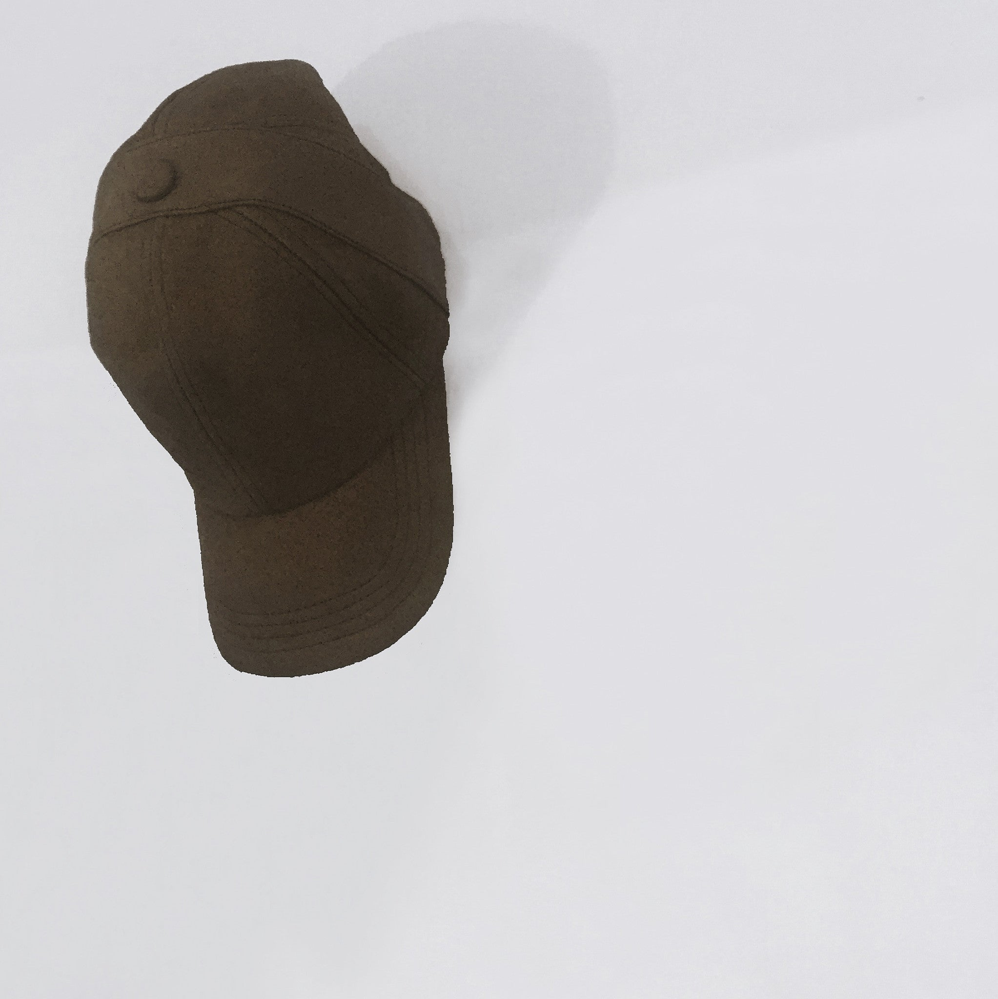 Suede Baseball Cap in Brown