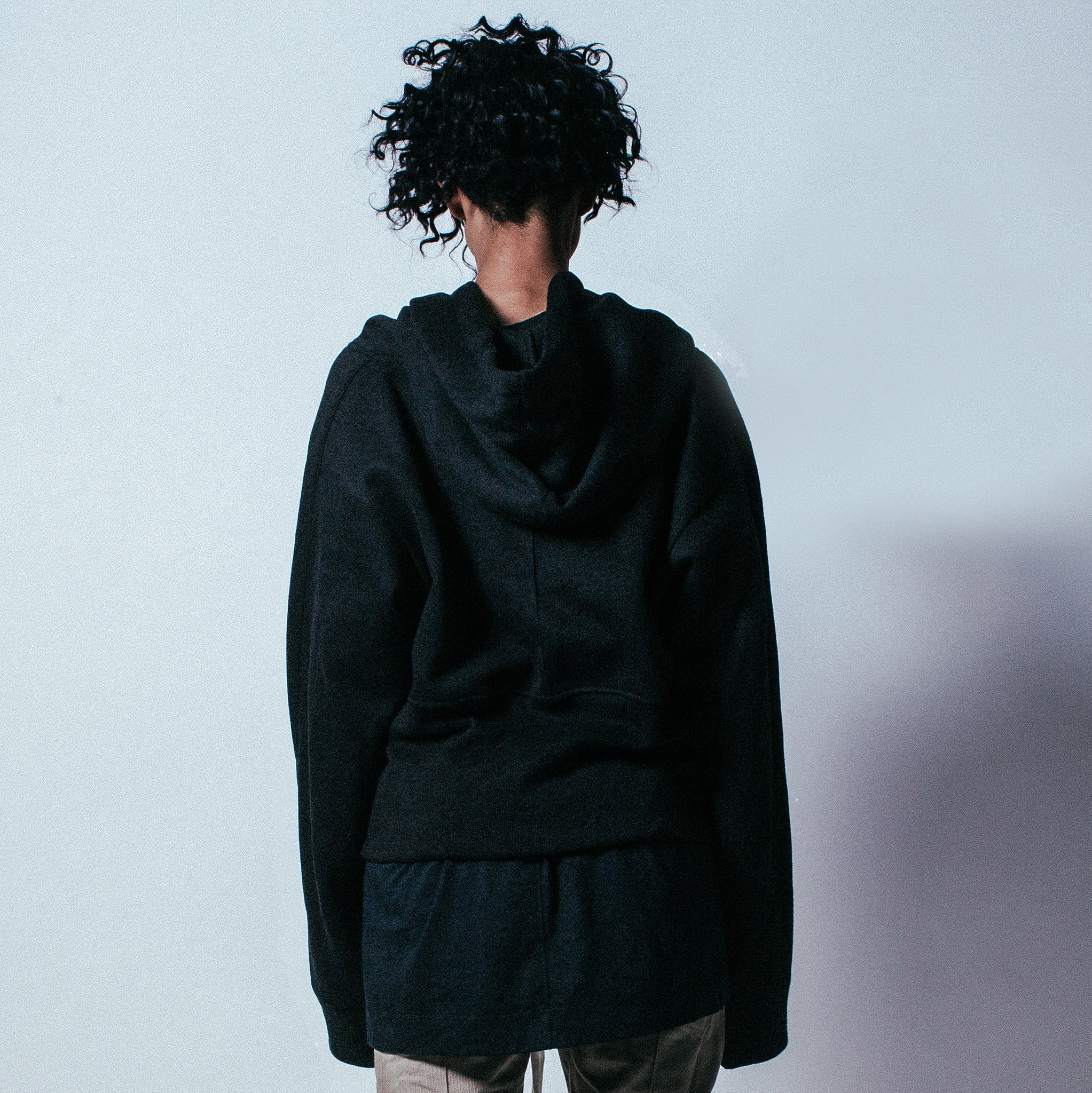 Ribbed Oversized Pullover Hoodie in Black