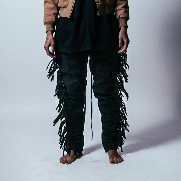 Fringed Trousers in Black