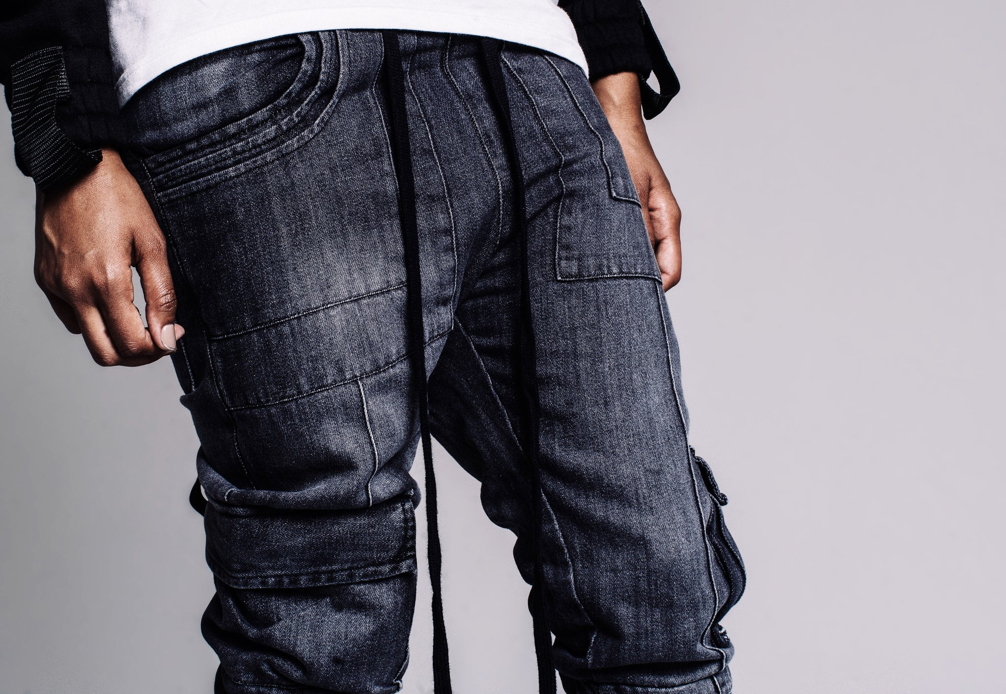 Denim Cargo Pants in Black Wash