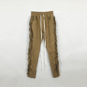 Fringed Trousers in Camel