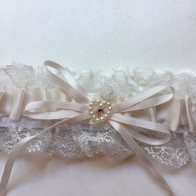 Pearl Heart & Diamante Wedding Garter - Ivory or White