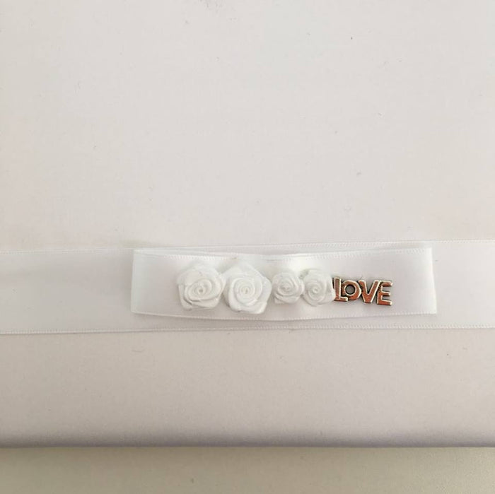 'Love' With White Roses Guest Book