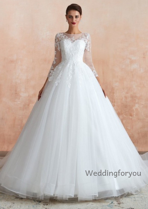 WFY303 - Ball Gown Lace Tulle Wedding Dress With 3/4 Sleeves