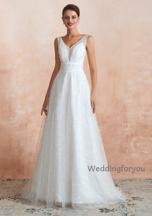 WFY306 - Simple V Neck Lace Summer Beach Informal Wedding Gown