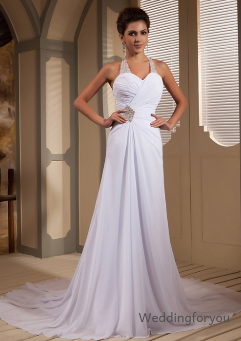 WFY309 - A-Line Sweetheart Halter Beaded Ruched Chiffon Informal Beach Wedding Dress