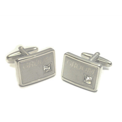 Engraved Cufflinks with Crystal Decoration