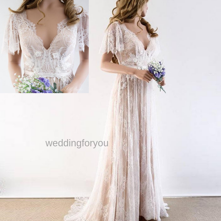 WFY1944 - White- Boho V Neck Cap Sleeve Lace Wedding Dress