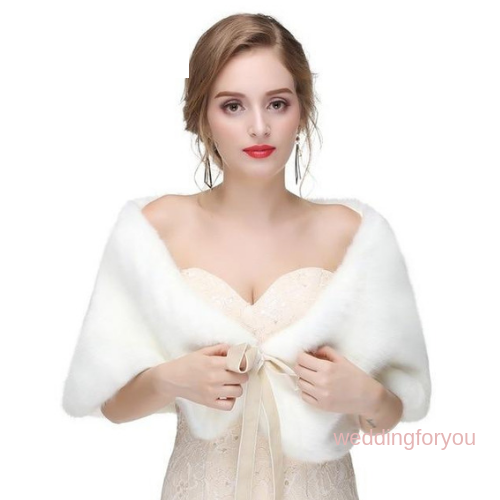Ivory Ribbon Tie Faux Fur Bridal Wrap