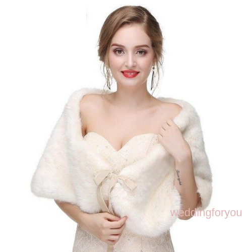 Beige Ribbon Tie Faux Fur Bridal Wrap