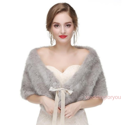 Grey Ribbon Tie Faux Fur Bridal Wrap