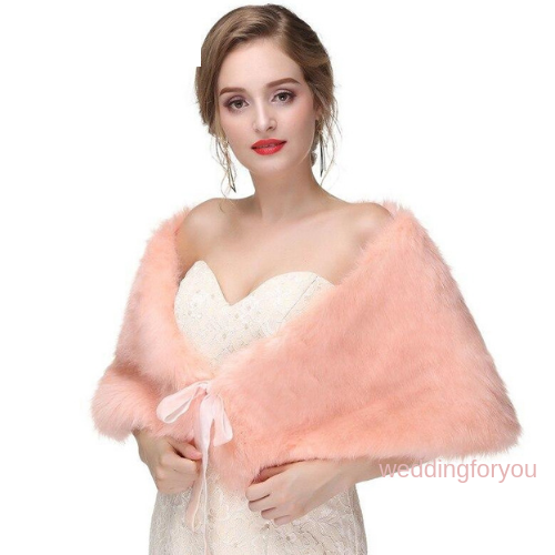 Coral Ribbon Tie Faux Fur Bridal Wrap