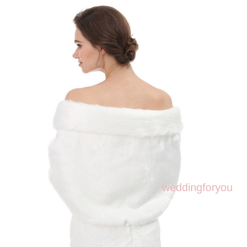 White Faux Fur Bridal Shrug